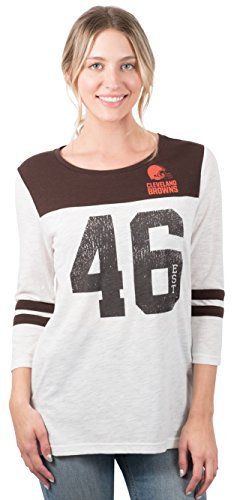 Cleveland Browns Soft Football - Icer Brands NFL Cleveland Browns Women's T-Shirt Vintage 3/4 Long Sleeve Tee Shirt, Large, White
