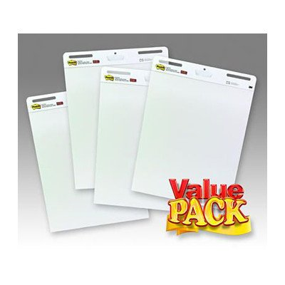 Post-It Self-Stick Easel Pad, 25 x 30 Inches, Unruled, White, 30 Sheets, Pack of 4