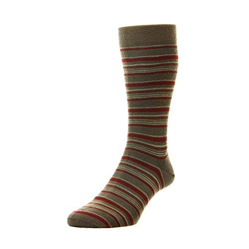 Mens Pantherella Mole Wine Saxon Socks Made In The UK Size Large 10-12 (Saxon Stripe)