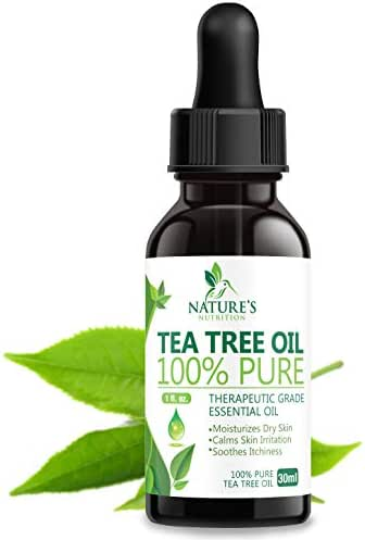 Tea Tree Oil 100% Pure, Best Therapeutic Grade Essential - 30ml with Antifungal Antibacterial Benefits For Face Skin Hair Nails Heal Acne Psoriasis Dandruff Piercings Cuts Bites & Face Wash - 1 oz