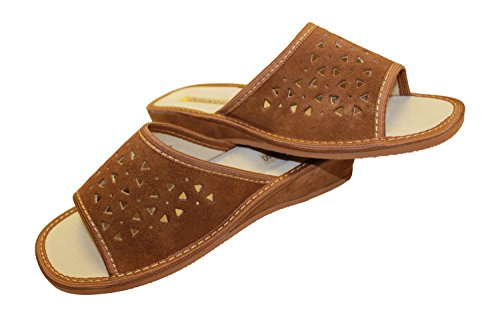 Pelle Cammello Donna Lusso Punta Chiusa Da In Pantofole Scamosciata A Di aqYAwH