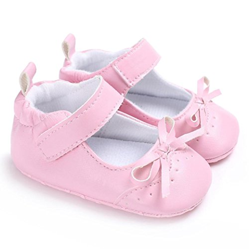 Longra Bébé Fille garçon Unisex noeud papillon Couleur unie Chaussures  premiers pas Princesse Chaussures ... a3cd56b0000a