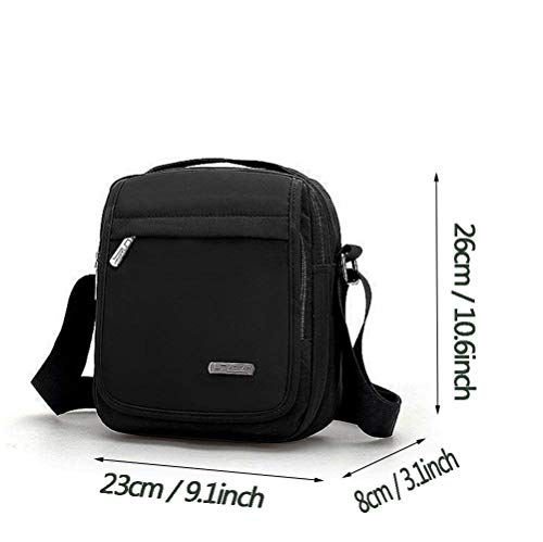 Casual Black College Unisex Crossbody Sports Office Lightweight functional Bag resistant Shoulder Daypack Long Small Pocket Water Messenger Moontang Nylon Strap Organiser Sling School Multi ngwYqFx6