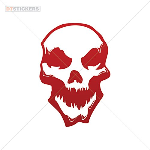 Decal Stickers Crazy Skull Motorbike Boat horror fire opposition poster (12 X 8,18 Inches) Red Dark