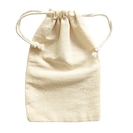 Pequeñas bolsas de algodón con cordón de muselina Doutop color natural, 6 unidades para decoración de Navidad, almacenamiento de joyas, festivales o ...