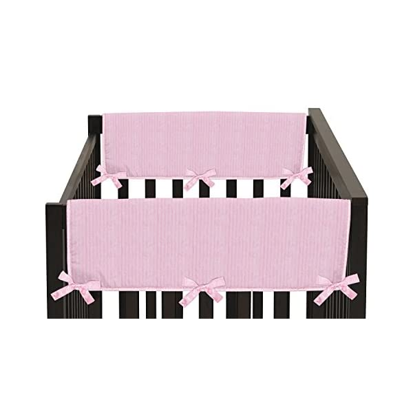 Sweet Jojo Designs 2-Piece Pink Chenille and Satin Teething Protector Cover Wrap Baby Crib Side Rail Guards