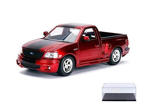 - Diecast Car & Display Case Package - 1999 Ford F-150 SVT Lightning Pickup Truck, Red - Jada 30359DP1 - 1/24 Scale Diecast Model Toy Car w/Display Case