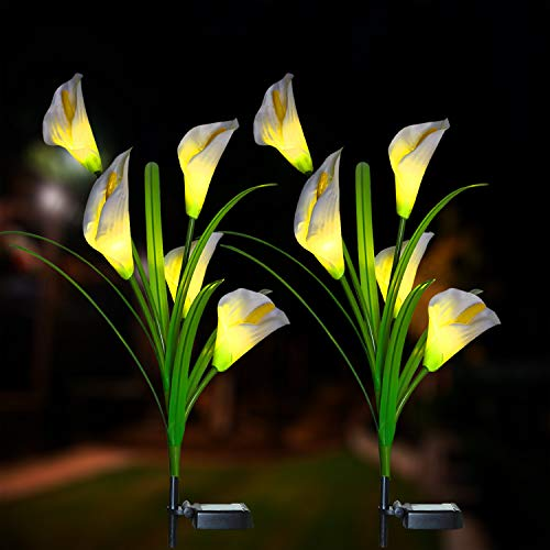 XLUX Outdoor Decorative Solar Calla Lily LED Lights, for Patio Lawn Pathway Deck Christmas Decoration, 2 Pack