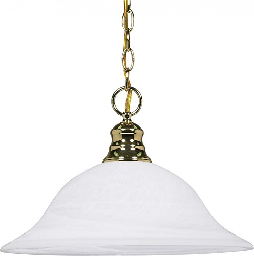 Nuvo 60/392 Hanging Dome With Alabaster Glass, Polished - Hanging Brass Polished Outdoor