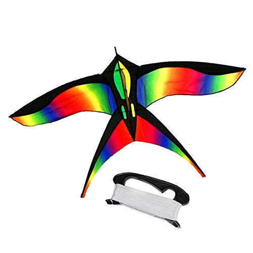 Mayco Bell Children Outdoor Fun Fly Colorful Rainbow Nylon Bird Kites 50m Handle Line Board Easy Flying Kite Toys for Children Outdoor Activities (B)