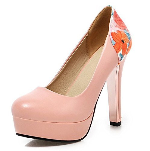 Aisun Womens Elegant Floral Print Round Toe Dress Slip On Heels Platform Pumps Work Office High Heel Shoes Pink jzFpnFzYI