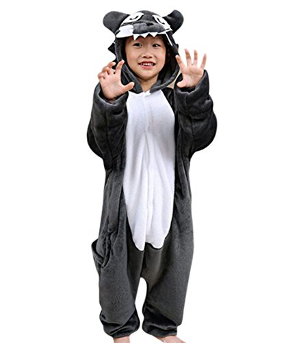Gerilea Wolf Flannel Animal Onesie for Xmas Halloween Pajama Cosplay Costumes ()