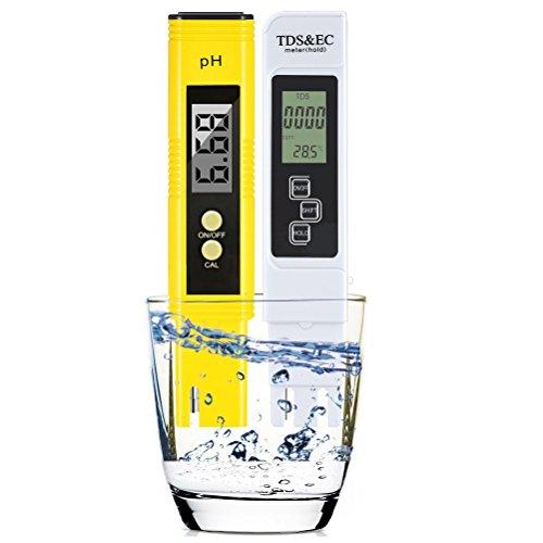 Tds Water (Deronweer Water Quality Test Meter TDS PH EC Temperature ,Digital TDS Meter+ PH Meter 4 in 1 Set (Yellow02))