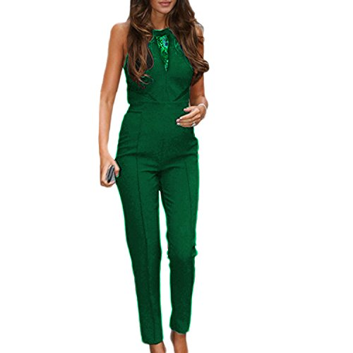 SUNNOW Women Black Sleeveless Lace Playsuit Club Cocktail Jumpsuit Romper (L, Army Green)