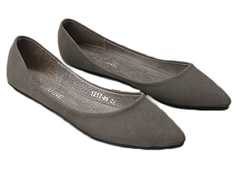 Avacostume Mujeres Solid Color Suede Pointed Toe Flats Gris