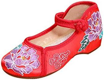 女の子刺繍入り靴中国風ラウンドヘッドシューズバックルストラップフラワー柄シューズ
