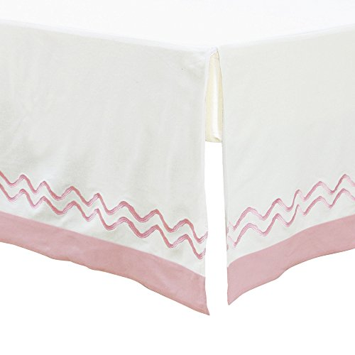 Petit Nest Pink and White Chevron Zig Zag Dust Ruffle by Lonni Paul