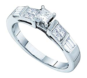 0.5 cttw 14k White Gold Solitaire Princess Cut and Baguette Cut Diamond Band Engagement Ring