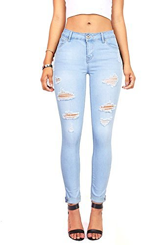 Pink Ice Women's Juniors Distressed Slim Fit Stretchy Skinny Jeans 9, Light