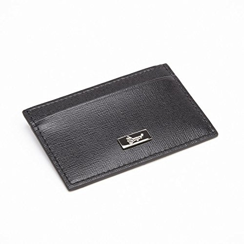 Royce Leather RFID Blocking Slim Credit Card Wallet in Saffiano Leather, Black