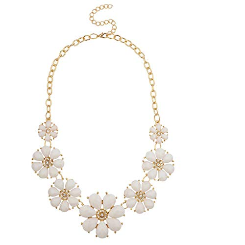 Lux Accessories Gold Tone and White Pave Flower Bib Statement Floral Chain Necklace