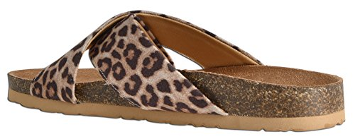 On Slip Summer Flop Flat Cheetah Comfort Women LUSTHAVE by Slide Flip On Sandals twqXnO