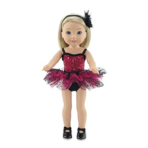 "Emily Rose 14 Inch Doll Clothes | Doll Jazz Ballet Outfit, Includes Leotard , Tutu, Matching Headband and Black Tap Shoes | Fits 14"" American Girl Wellie Wishers and Glitter Girls Dolls 