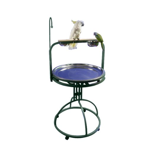 Image of Deluxe Bird Play Stand with Wood Perch Color: Platinum Pet Supplies