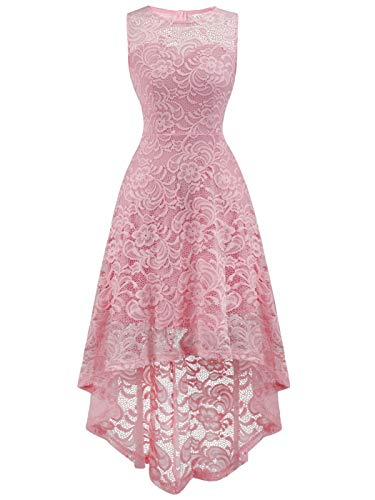 FAIRY COUPLE Women's Vintage Floral Lace Hi-Lo Sleeveless Cocktail Formal Swing Dress DL022A (2XL,Pink)