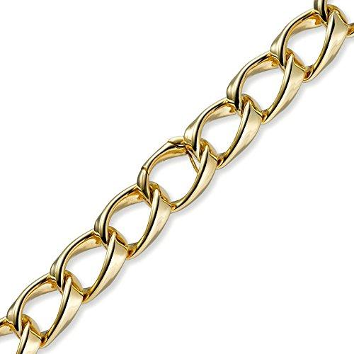 18mm loin-Bracelet Gourmette Bracelet Chaîne Bracelet Bijoux en or jaune 750, 21cm