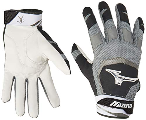 Mizuno Finch Adult Women's Fastpitch Softball Batting Gloves, Medium, Black/White