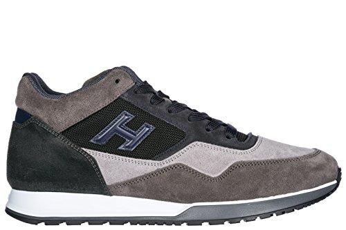 Hogan Uomo Scarpe Sneakers In Camoscio Scarpe H321 Blu