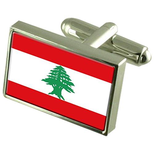 En Argent Sterling de manchette Drapeau Liban