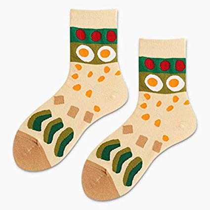 VT BigHome Cartoon Funny Socks Creative Print Japanese Cake Egg Sushi Art Socks Women Calcetines Mujer