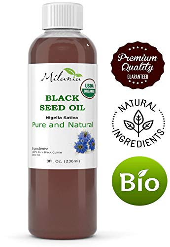 Premium Organic Black Cumin Seed Oil 1.55%+ Thymoquinone, Virgin, Cold-Pressed, Unrefined 100% Pure Grade A. Nigella Sativa Oil (8 fl oz)