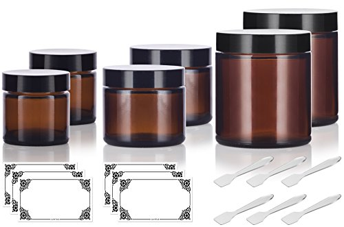 6 piece Amber Glass Straight Sided Jar Multi Size Set : Includes 2-1 oz, 2-2 oz, and 2-4 oz Amber Glass Jars with Black Lids + Spatulas and Labels for Aromatherapy, Essential Oils, Travel and Home