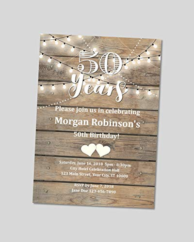 Rustic 50th Birthday Invitation Wood And String Of Lights Any Age 21st 30th 40th 60th Invites