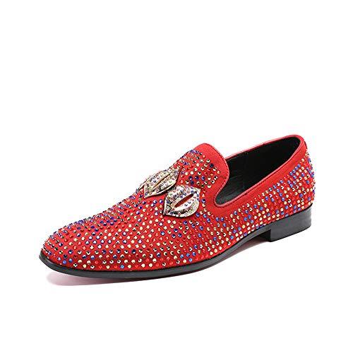 de Creativa Zapatos Dedo Planos de Rojas 44 Negocio Hombres Vendimia de de los tamaño Hombres Antideslizante Chlyuan la Cuero Lentejuelas Impermeables Zapatos los EU para del de xvPwtTq7Y