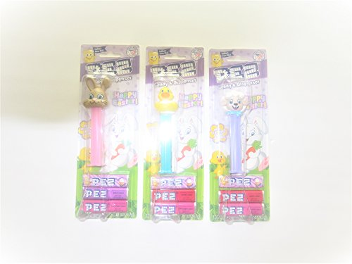 Bundle of 3 Easter Pez - Duck, Lamb and Tan Floppy Ear Bunny in Blister Card Packages with 3 Rolls Candy (Pez Lamb Candy)