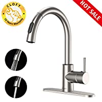 CLOFY Faucets Lead-free Kitchen Sink Faucet Single-Handle Brushed Nickel Put out Kitchen Faucet, Single Level High Arc Kitchen Faucets with Pull down Sprayer