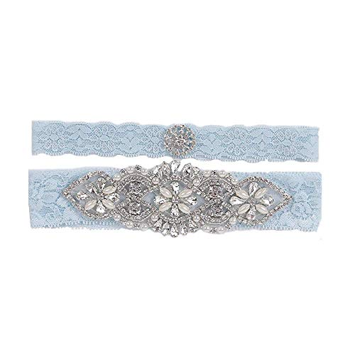 Wedding Bridal Garters Set for Bride Garter Stretch Rhinestone Crystal Pearl Garter Belt 2 Pieces Toss-Away -