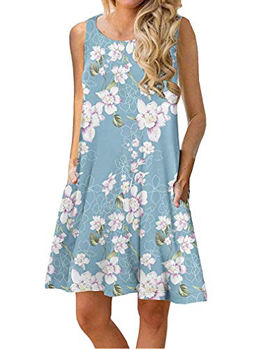 Dress Sleeveless Womens House - Sherosa Women's Summer Sundress Floral Printed Sleeveless Casual A Line Dress (XXL, A-Blue)