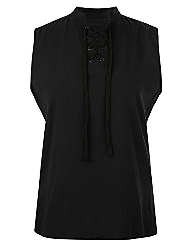Appler Mens ROGUE SHIRT Renaissance Clothing, Medieval Clothing, Green Pirate Shirt, Steampunk Costume, Pirate Costume, Viking Tunic A-black 3X-Large (Rogue Corset)