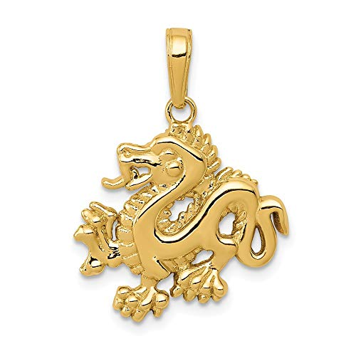 14k Yellow Gold 2D Dragon Pendant, 18mm ()