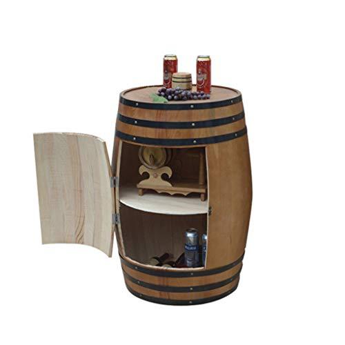 HQCC Oak barrel wine cooler, bar decorated beer keg, wooden wine rack, family wine storage container (Size : 55cm) ()