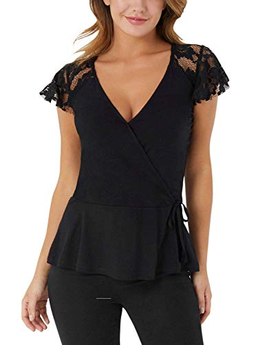 (Blooming Jelly Womens Short Sleeve Shirt V Neck Lace Wrap Peplum Ruffle Hem Tunic Top Blouse(M,Black))