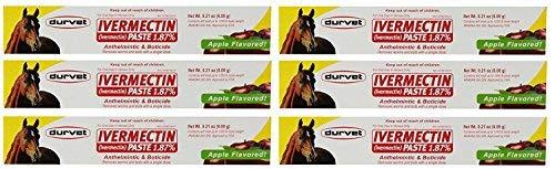 Ivermectin Paste Dewormer - 6.08g dose @ 1.87% Apple Flavor (6-Pack)