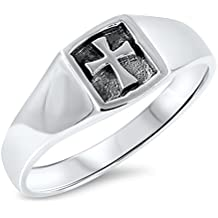 Oxidized Iron Cross Christian Promise Ring .925 Sterling Silver Band Sizes 4-10
