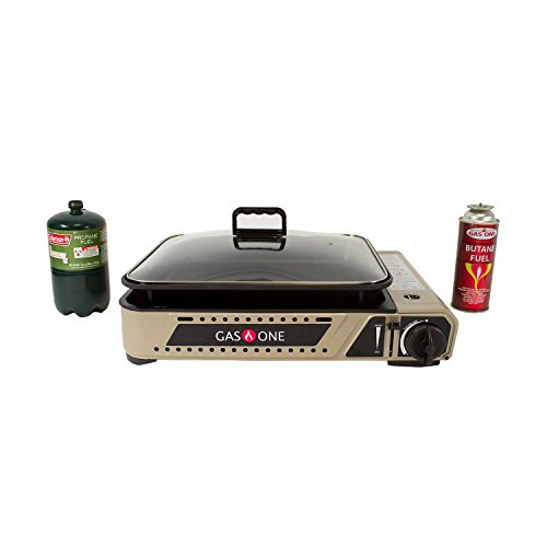 GasOne New GS-2300P Propane or Butane Dual Fuel All in One Portable Wide Stove with Premium Non-Stick Deep Grill with Tempered Glass Lid/Gas Stove Burner with Carrying Case Model 2017 -