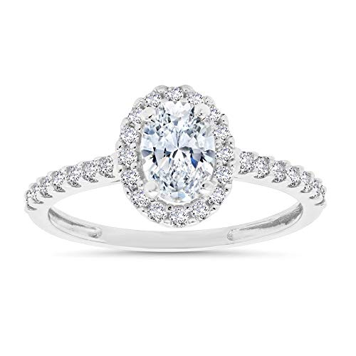 10k Solid White Gold Oval Shape CZ Halo Engagement Ring (1.0 CARAT T.W.), Size 6